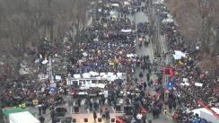 Marșul de protest al susținătorilor USL