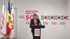 """Briefing de presă susținut de Președintele Partidului Politic """"ȘOR"""", Ilan Șor, cu tema """"Argumente în plus că PSRM trebuie exclus din cursa electorală"""""""