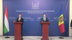 Declarații de presă susținute de Ministrul Afacerilor Externe și Integrării Europene al Republicii Moldova, Tudor Ulianovschi, și Ministrul Afacerilor Externe și Comerțului al Ungariei, Péter Szijjártó