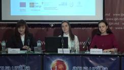 """Conferința de presă organizată de Centrul Parteneriat pentru Dezvoltare cu tema """"Inegalitățile de venituri dintre femei și bărbați, de la candidate la alegătoare..."""""""
