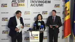 Briefing de presă susținut de co-președinții blocului ACUM DA PAS, Maia Sandu și Andrei Năstase, și de candidatul ACUM în circumscripția Călărași, Igor Munteanu
