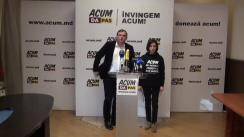Conferința de presă organizată de co-președinții blocului ACUM DA PAS, Maia Sandu și Andrei Năstase