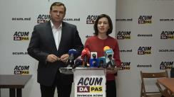 Briefing de presă organizat de blocul ACUM DA PAS după închiderea secțiilor de votare