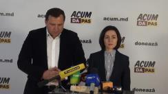 Briefing de presă susținut de co-președinții blocului ACUM DA PAS, Maia Sandu și Andrei Năstase