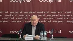 """Conferința de presă susținută de Fiodor Ghelici, președintele Asociației obștești """"Moldova mea"""", cu tema """"Adresare publică parlamentarilor. Dacă politicienii nu se vor înțelege și vor admite alegeri anticipate, noi vom boicota alegerile sau vom vota partide noi"""""""