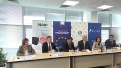 Conferința de presă organizată de Biroul din Moldova al Băncii Europene pentru Reconstrucție și Dezvoltare cu ocazia semnării a noi acorduri de împrumut cu Moldova Agroindbank și Victoriabank