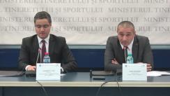 Conferință de presă susținută de ministrul tineretului și sportului al României, Bogdan Matei, și președintele Federației Naționale a Grupurilor de Acțiune Locală, Alexandru Potor, cu ocazia semnării protocolului de colaborare dintre cele două organizații
