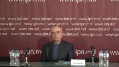 """Conferința de presă organizată de Pensionarul Piotr Bejenari cu tema """"Statul a lăsat să intre în casa noastră un monstru din companiile de construcții, căruia îi este permis să ne distrugă soarta și viața, iar dreptate și protecție nu putem găsi nicăieri"""""""