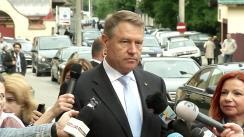 """Declarații de presă susținute de Președintele României, Klaus Iohannis, după participarea la deschiderea conferinței """"Viitorul Europei: Perspectivele Evoluțiilor Contemporane"""""""