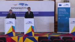 Conferință de presă susținută de Ministrul pentru Mediul de afaceri al României, Ștefan-Radu Oprea, și comisarul european pentru mediu, afaceri maritime și pescuit, Karmenu Vella