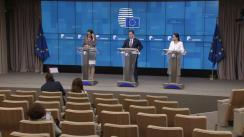 Conferință de presă susținută de Ministrul pentru Mediul de afaceri al României, Ștefan-Radu Oprea, și comisarul european pentru Comerț, Cecilia Malmström