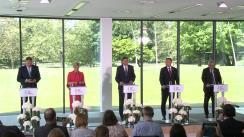 Declarații de presă comune a Președintelui României, Klaus Iohannis, cu Președintele Sloveniei, Borut Pahor, Președintele Croației, Kolinda Grabar-Kitarović, Președintele Poloniei, Andrzej Duda, și Președintele Comisiei Europene, Jean-Claude Juncker