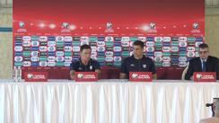 Conferință de presă susținută de selecționerul Moldovei, Alexandru Spiridon și a unui jucător, înainte de meciul Moldova - Andorra