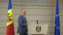 Declarație de presă susținută de Președintele Republicii Moldova, Igor Dodon, și Președintele Parlamentului Republicii Moldova, Zinaida Greceanîi