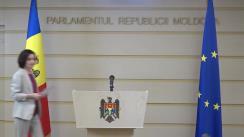 Conferință de presă susținută de Prim-ministrul Republicii Moldova, Maia Sandu