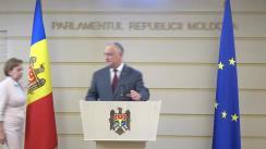 Declarație de presă susținută de Președintele Republicii Moldova, Igor Dodon, și conducerea Parlamentului Republicii Moldova