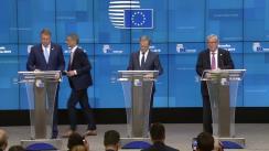 Declarație de presă susținută de Președintele României, Klaus Iohannis, cu Președintele Consiliului European, Donald Tusk, și Președintele Comisiei Europene, Jean-Claude Juncker