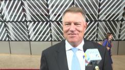 Declarații de presă susținute de Președintele României, Klaus Iohannis, înaintea participării la reuniunea Consiliului European