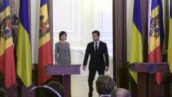 Conferință de presă susținută de Prim-ministrul Republicii Moldova, Maia Sandu, și Președintele Ucrainei, Volodimir Zelensky