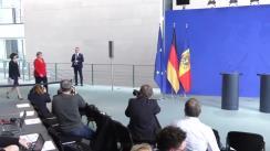 Conferință de presă susținută de Prim-ministrul Republicii Moldova, Maia Sandu, și Cancelarul Republicii Federale Germania, Angela Merkel