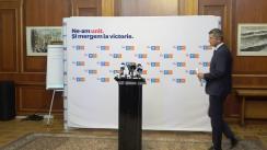 Conferință de presă susținută de liderii Alianței USR PLUS, Dan Barna și Dacian Cioloș, pe tema crizei guvernamentale