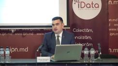 """Conferința de presă organizată de Compania Date Inteligente SRL (iData) cu tema """"Barometrul electoral – septembrie 2019. Rezultatele sondajului de opinie cu tematică socio-politică desfășurat în mun. Chișinău"""""""