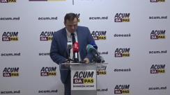 Conferință de presă susținută de Andrei Năstase, președintele Platformei DA, candidatul Blocului ACUM Platforma DA și PAS la funcția de primar al municipiului Chișinău