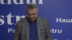 Conferință de presă susținută de liderul Partidului Nostru și candidatul formațiunii pentru funcția de primar al municipiului Bălți, Renato Usatîi