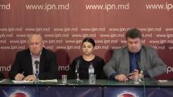"""Conferința de presă organizată de Fiodor Ghelici, președintele Asociației """"Moldova mea"""", cu tema """"O moldoveancă și-a născut fiul în Sevastopol, iar autoritățile Moldovei refuză să îl înregistreze și să elibereze certificatul de naștere, declarând că micuțul s-a născut într-o republică nerecunoscută"""""""