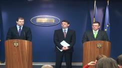 Briefing de presă susținut de prim-ministrul, Mihai Răzvan Ungureanu, împreună cu ministri Bogdan Drăgoi și Gabriel Berca, după ședința Guvernului României. 14.02.2012