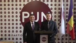 Conferință de presă cu participarea președintelui Partidului Unității Naționale, Octavian Țîcu și Vlad Țurcanu