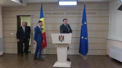 Briefing de presă susținut de către deputații Fracțiunii Blocul ACUM PLatforma DA, Vasile-Andrei Năstase, Dinu Plîngău și Igor Munteanu