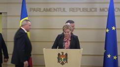 Briefing de presă susținut de către deputata fracțiunii PD, Ruxanda Glavan, în timpul ședinței Parlamentului Republicii Moldova din 27 februarie 2020