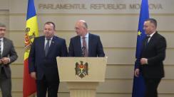 Briefing de presă susținut de către deputatul PDM, Pavel Filip, în timpul ședinței Parlamentului Republicii Moldova din 27 februarie 2020