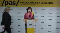 Conferință de presă susținută de Președinta Partidului Acțiune și Solidaritate, Maia Sandu, împreună cu deputata PAS, Galina Sajin