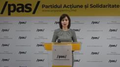 Conferință de presă susținută de președintele Partidului Acțiune și Solidaritate, Maia Sandu, și Ministrul Finanțelor în cadrul Guvernului Sandu, Natalia Gavrilița