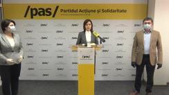 Conferință de presă susținută de Lidera Partidului Acțiune și Solidaritate, Maia Sandu, ministra Finanțelor în Guvernul Sandu, Natalia Gavrilița, și deputatul Igor Grosu