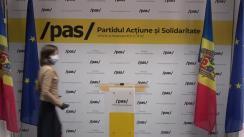 Conferință de presă susținută de Lidera Partidului Acțiune și Solidaritate, Maia Sandu, și deputatul PAS, Vladimir Bolea