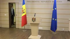 Briefing de presă susținut de către deputații Fracțiunii ACUM PLATFORMA DA Alexandru Slusari, Igor Munteanu și Dinu Plîngău