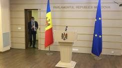 Conferința de presă susținută de către deputații Fracțiunii PAS Blocul ACUM, Igor Grosu și Sergiu Litvinenco
