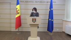 Briefing de presă susținut de Vicepreședintele Parlamentului Republicii Moldova, Monica Babuc