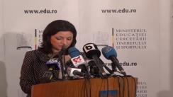 Conferință de presă susținută de secretarul de stat în Ministerul Educației, Cercetării, Tineretului și Sportului Oana Badea