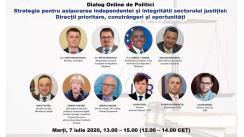 """Dialog online de politici """"Strategia pentru asigurarea independenței și integrității sectorului justiției: direcții prioritare, constrângeri și oportunități"""""""