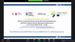 """EU Debates Cafe organizat de Institutul pentru Politici și Reforme Europene cu tema """"Dezvoltarea proiectelor de eficiență energetică: un pact verde pentru Republica Moldova?"""""""