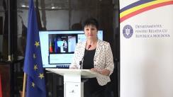 Conferință de presă susținută de secretarul de stat al Departamentului pentru Relația cu Republica Moldova, Ana Guțu, de prezentare a proiectelor aflate în desfășurare și rezultatele primului Comitet interministerial organizat la nivelul D.R.R.M.