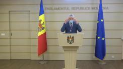 Briefing susținut de Vicepreședintele Parlamentului Republicii Moldova, Alexandru Slusari, în timpul ședinței Parlamentului Republicii Moldova din 9 iulie 2020