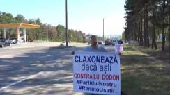"""Acțiunea """"Claxonează, dacă ești împotriva lui Dodon"""" organizată de Partidul Nostru"""