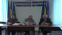 Conferința de presă privind situația generată de managementul defectuos al fondurilor europene organizată de Confederația Sindicatelor Democratice din România și Federația Sindicatelor Lucrătorilor din Cercetare Proiectare din România