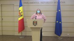 """Briefing de presă susținut de deputata Fracțiunii PAS, Galina Sajin, cu tema """"Practici abuzive ale companiilor aeriene Air Moldova și Fly One pe timp de pandemie"""""""