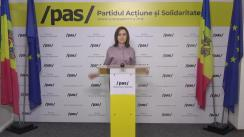 Briefing de presă susținut de Președintele Partidului Acțiune și Solidaritate, Maia Sandu
